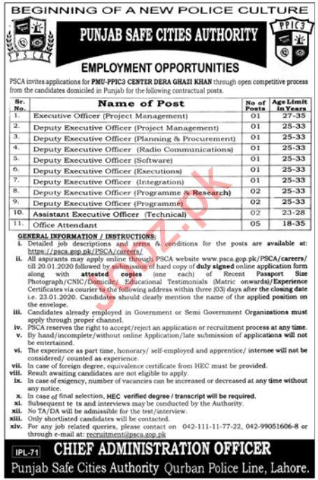 Punjab Safe Cities Authority PSCA Jobs 2020