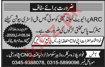 Bill Distributor Jobs 2020 in ARC Peshawar