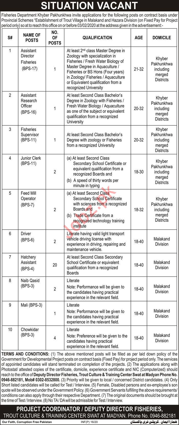 Fisheries Department Jobs 2020 For Management Staff