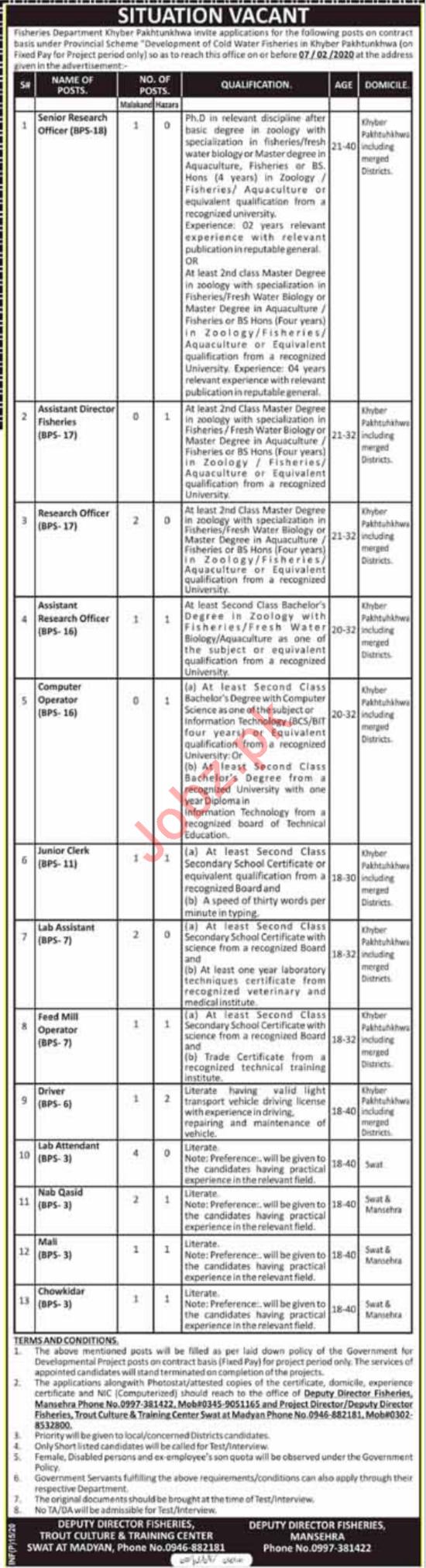 Fisheries Department Khyber Pakhtunkhwa KPK Jobs 2020