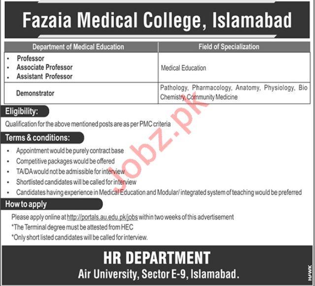 Fazaia Medical College Teaching Staff Jobs 2020