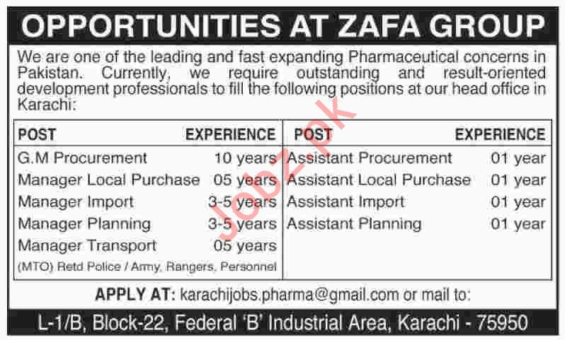 Zafa Group Jobs 2020 in Karachi