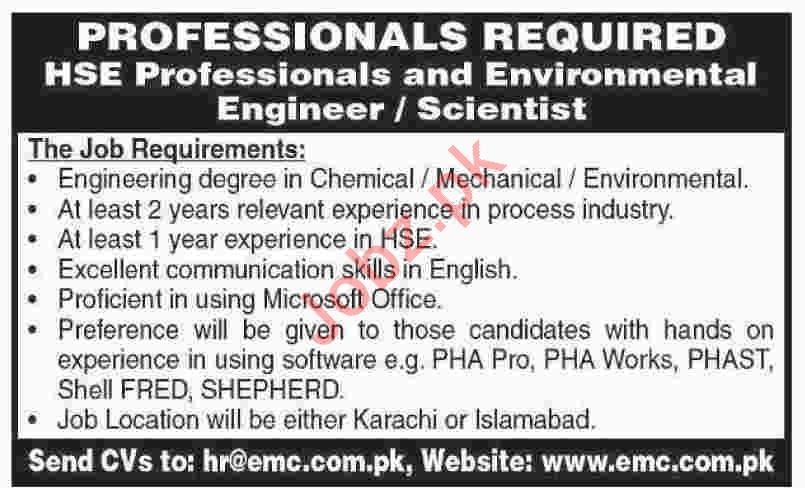 EMC Pakistan Private Limited Jobs 2020 in Karachi