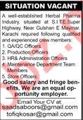 Herbal Pharma Industry Jobs 2020 in Karachi