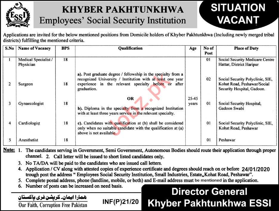 Khyber Pakhtunkhwa Employees Social Security Jobs 2020