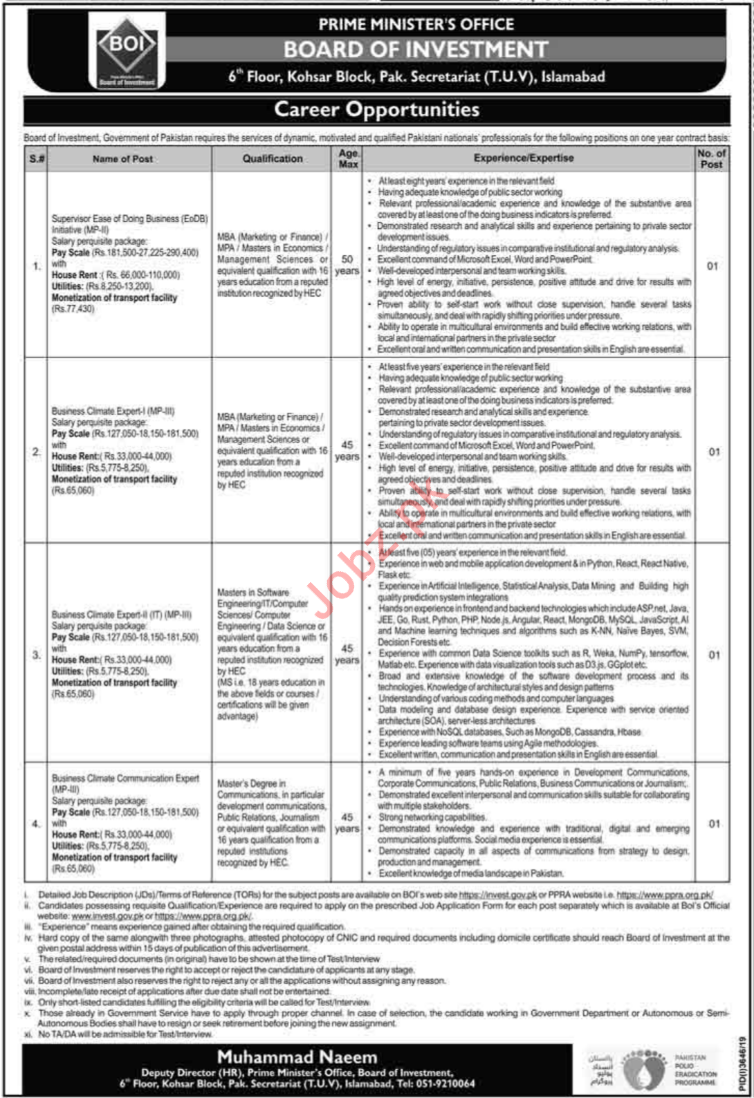 Board of Investment Jobs 2020 in Islamabad