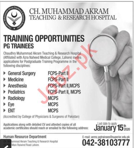 CH Muhammad Akram Teaching & Research Hospital Jobs 2020
