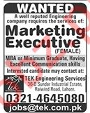 Female Marketing Executive Jobs 2020 in Lahore