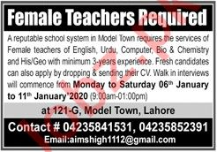 Female Teachers Jobs Interview 2020 in Model Town Lahore