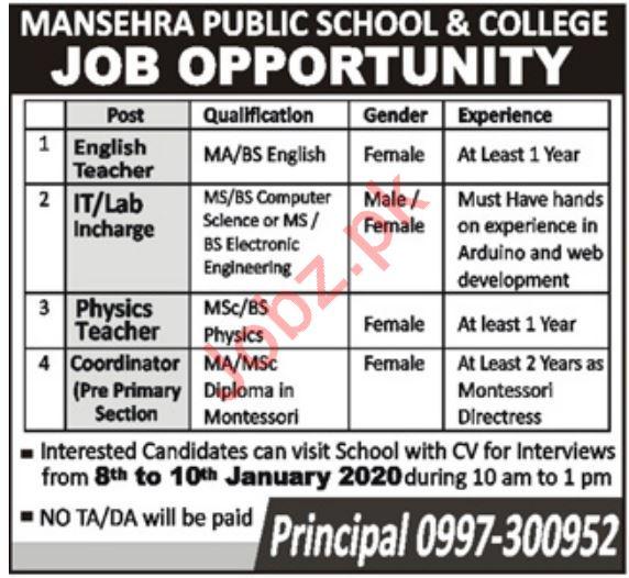 Teaching Staff Jobs in Mansehra Public School & College