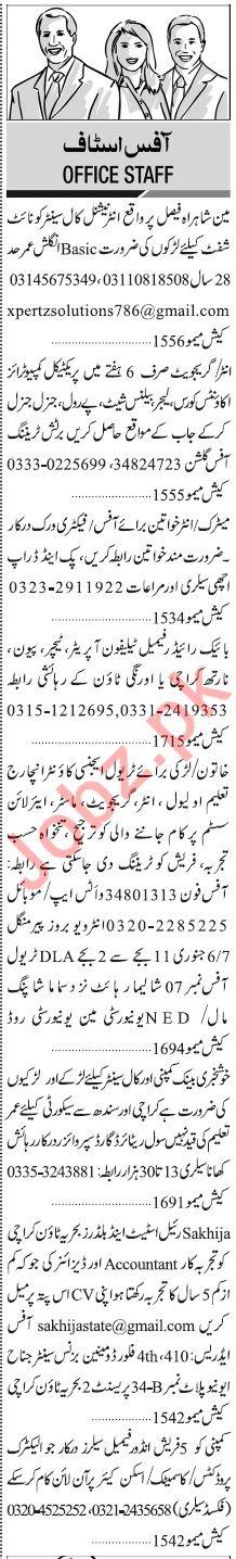 Jang Sunday Januray 5th Managment Jobs 2020 in Karachi