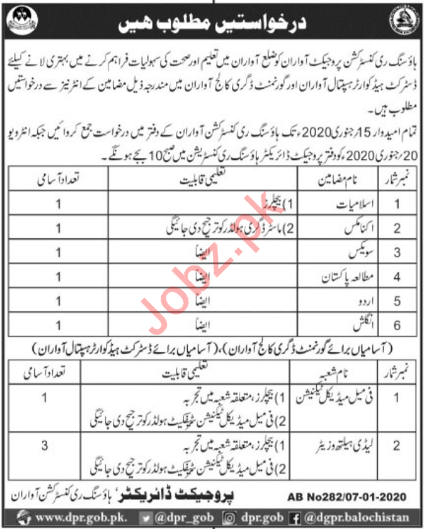 Housing Reconstruction Project Jobs in Awaran Balochistan