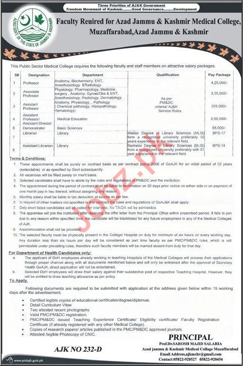 Azad Jammu & Kashmir Medical College Faculty Jobs 2020