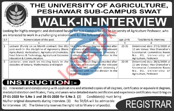 The University of Agriculture Lecturer Jobs Interviews 2020