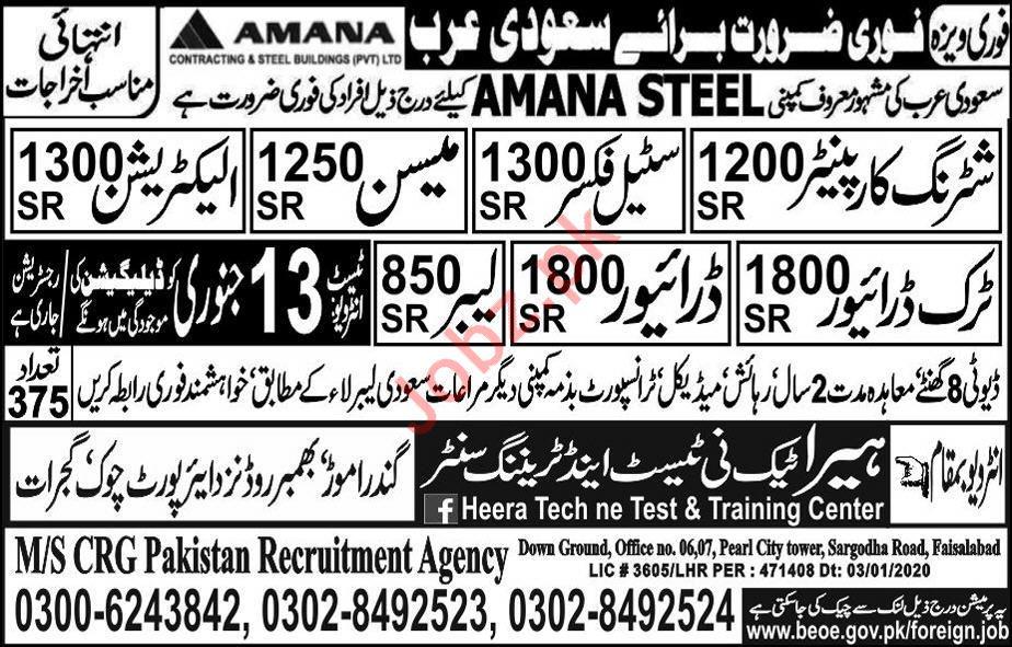 Amana Steel Company Jobs 2020 in Saudi Arabia