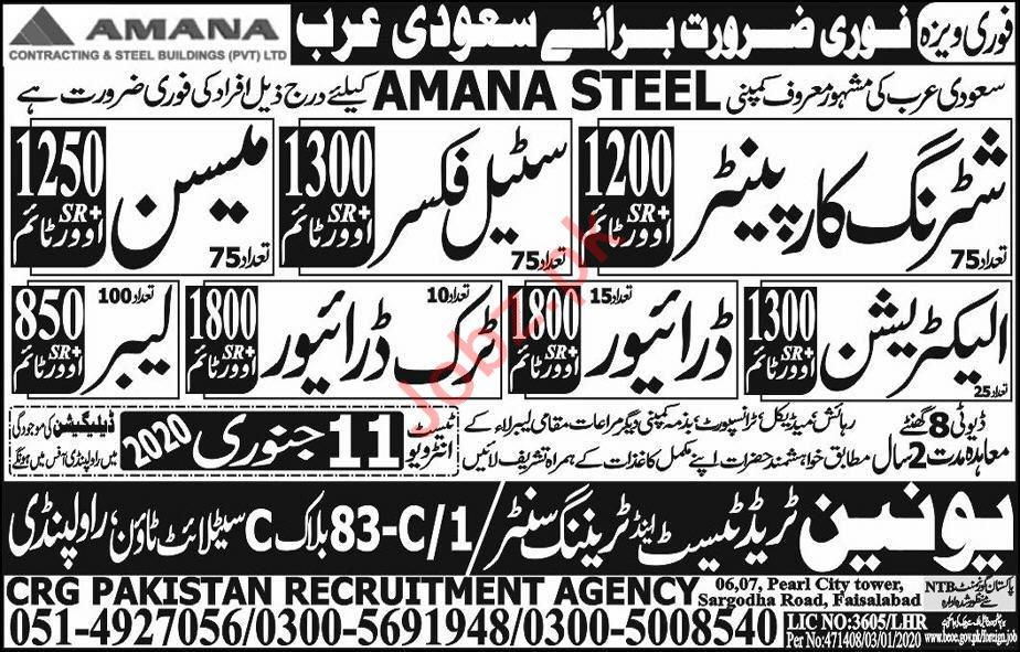 Amana Steel Company Jobs 2020 For Construction Staff