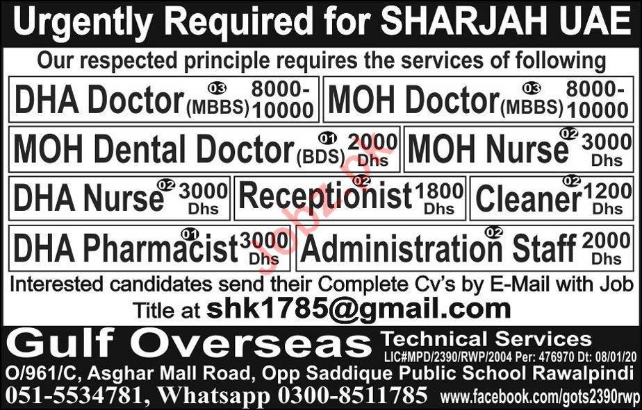 Medical & Administration Staff Jobs 2020 in Sharjah UAE