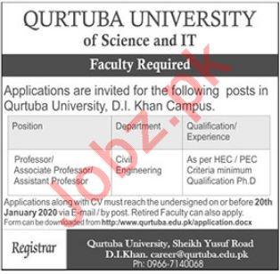 Qurtuba University of Science & IT  Faculty Staff Jobs 2020