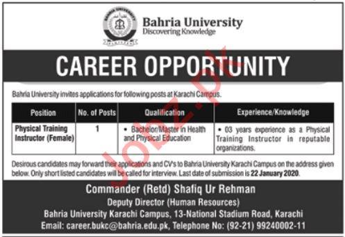 Bahria University Job For Physical Training Instructor PTI