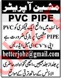 PVC Pipe Machine Operator Jobs in Factory