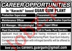 Management Jobs in Guar Gum Plant