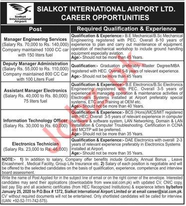Sialkot International Airport Limited Jobs 2020