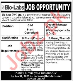 Bio Labs Islamabad Jobs 2020 for Manager & Deputy Manager