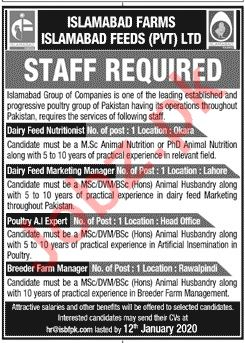 Islamabad Farms Jobs 2020 for Dairy Feed Nutritionist