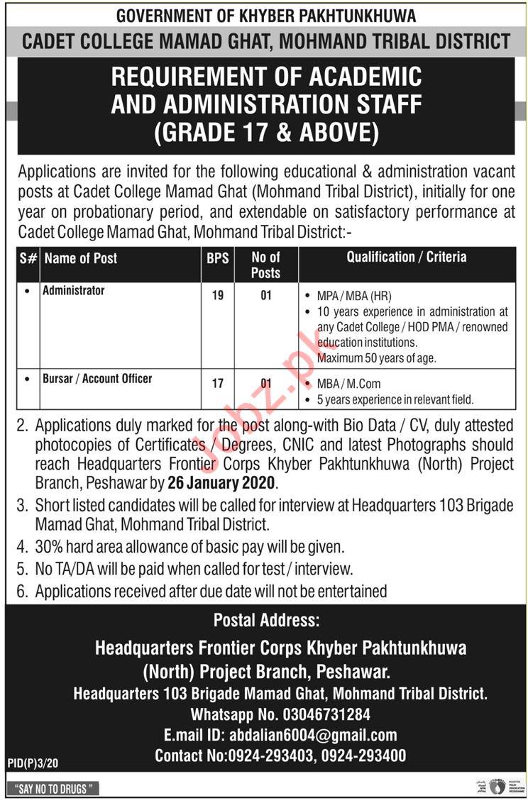 Cadet College Mohmand Ghat Academic & Admin Staff Jobs 2020