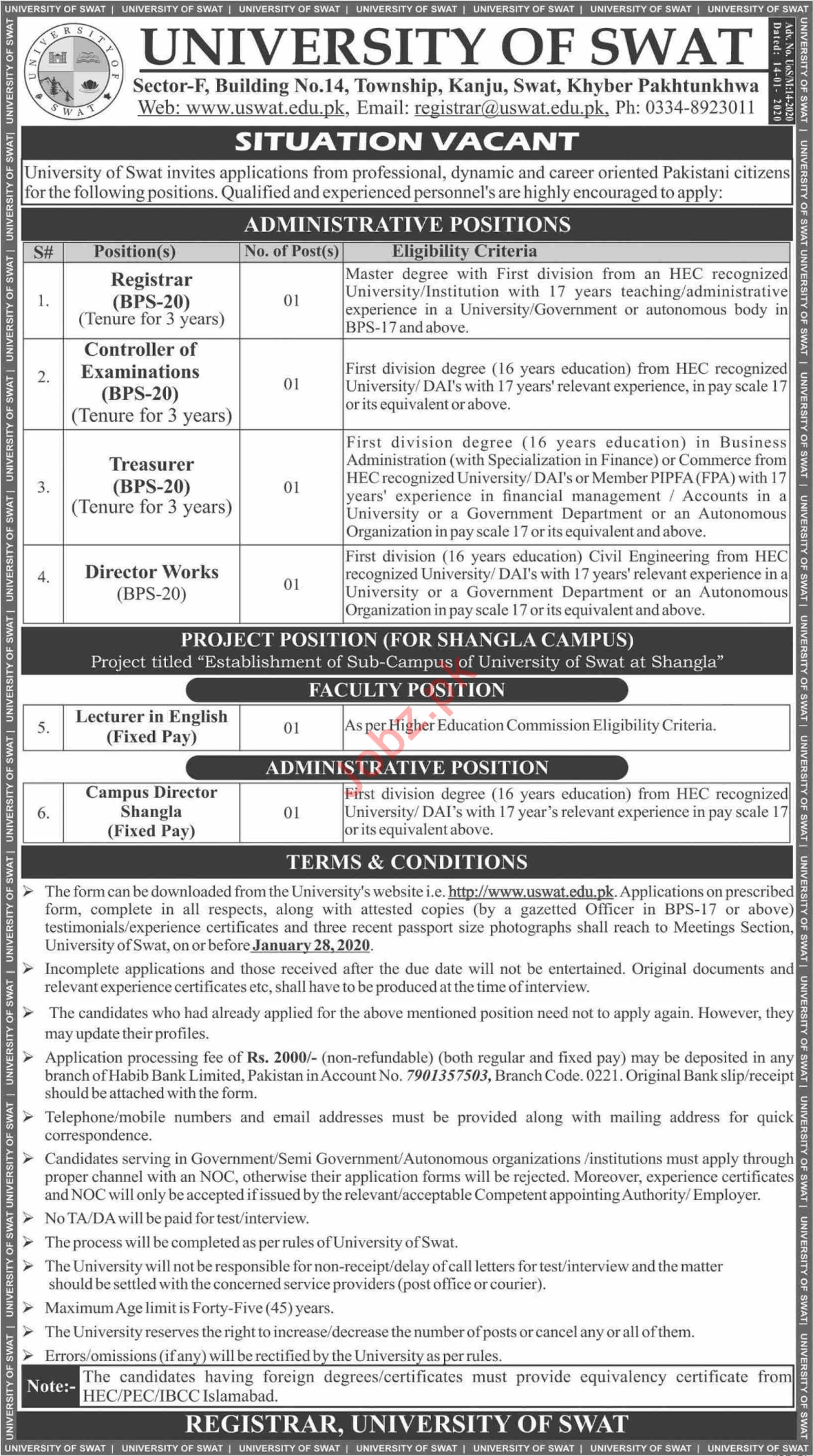 University of Swat Jobs For Faculty & Administrative Staff