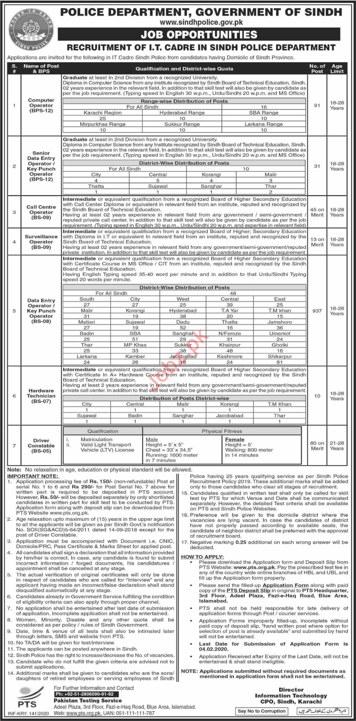 Sindh Police Department IT Cadre Jobs 2020 via PTS