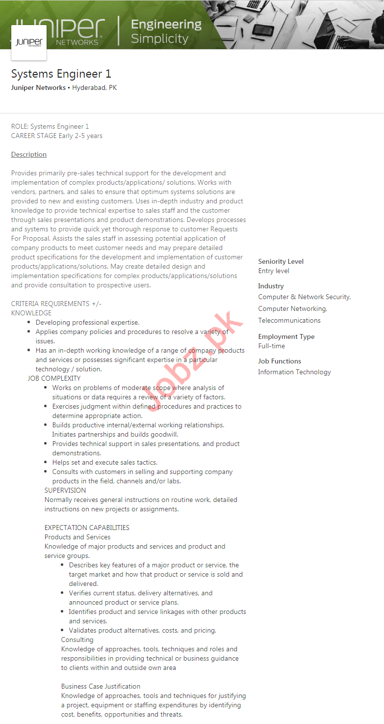 Juniper Networks Company Job For Systems Engineer 1