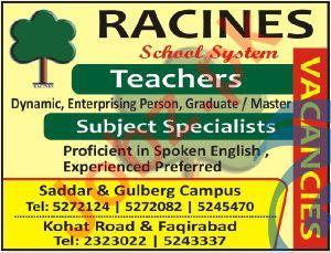 Racines School System Teaching Staff Jobs 2020