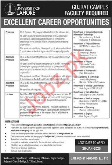 The University of Lahore UoL Teaching Staff Jobs 2020