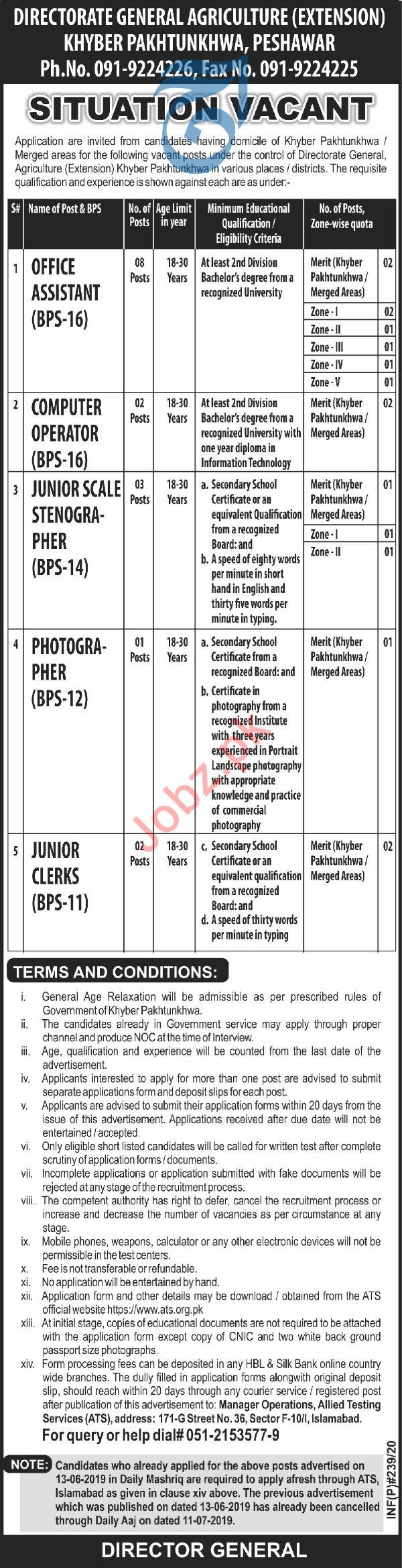 Directorate General Agriculture KpK Jobs 2020 Via ATS