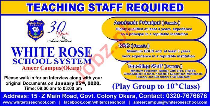 Teaching Staff Jobs in White Rose School System