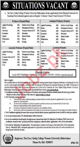 Government Sadiq College Women University Faculty Jobs 2020