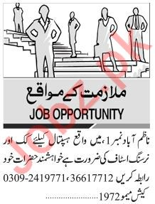 Cook & Nursing Staff Jobs in Private Hospital