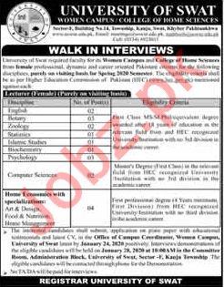 University of Swat Walk In Interviews 2020