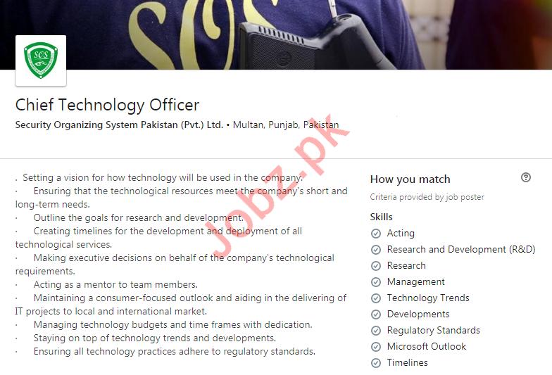 Chief Technology Officer Job 2020 in Multan