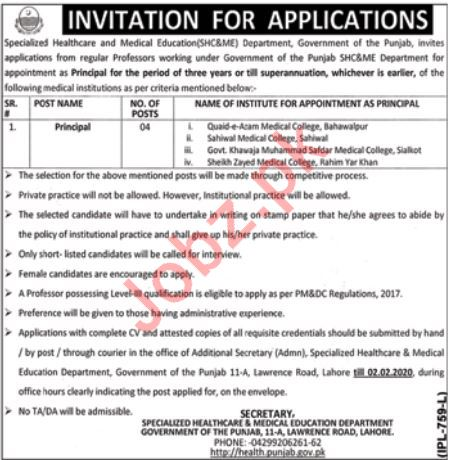 Principal Jobs in Specialized Healthcare & Medical Education