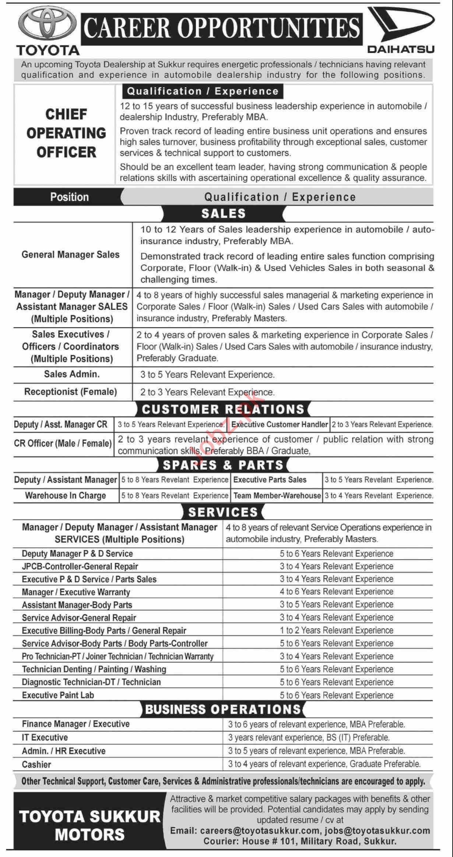 Toyota Sukkur Motors Jobs 2020 in Sukkur