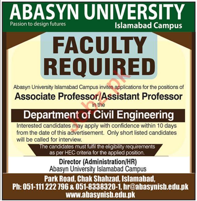 Abasyn University Jobs 2020 in Islamabad