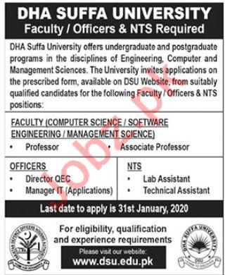 DHA Suffa University Jobs 2020 in Islamabad