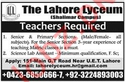 The Lahore Lyceum Teaching Staff Jobs 2020