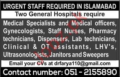 Medical Specialist and Medical Officer Jobs 2020 in ISB