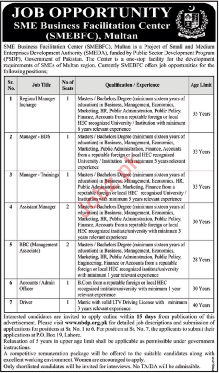 SME Business Facilitation Centre SMBFC Jobs 2020 in Multan