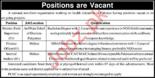 National NGO Jobs 2020 in Arifwala, Pakpattan & Multan