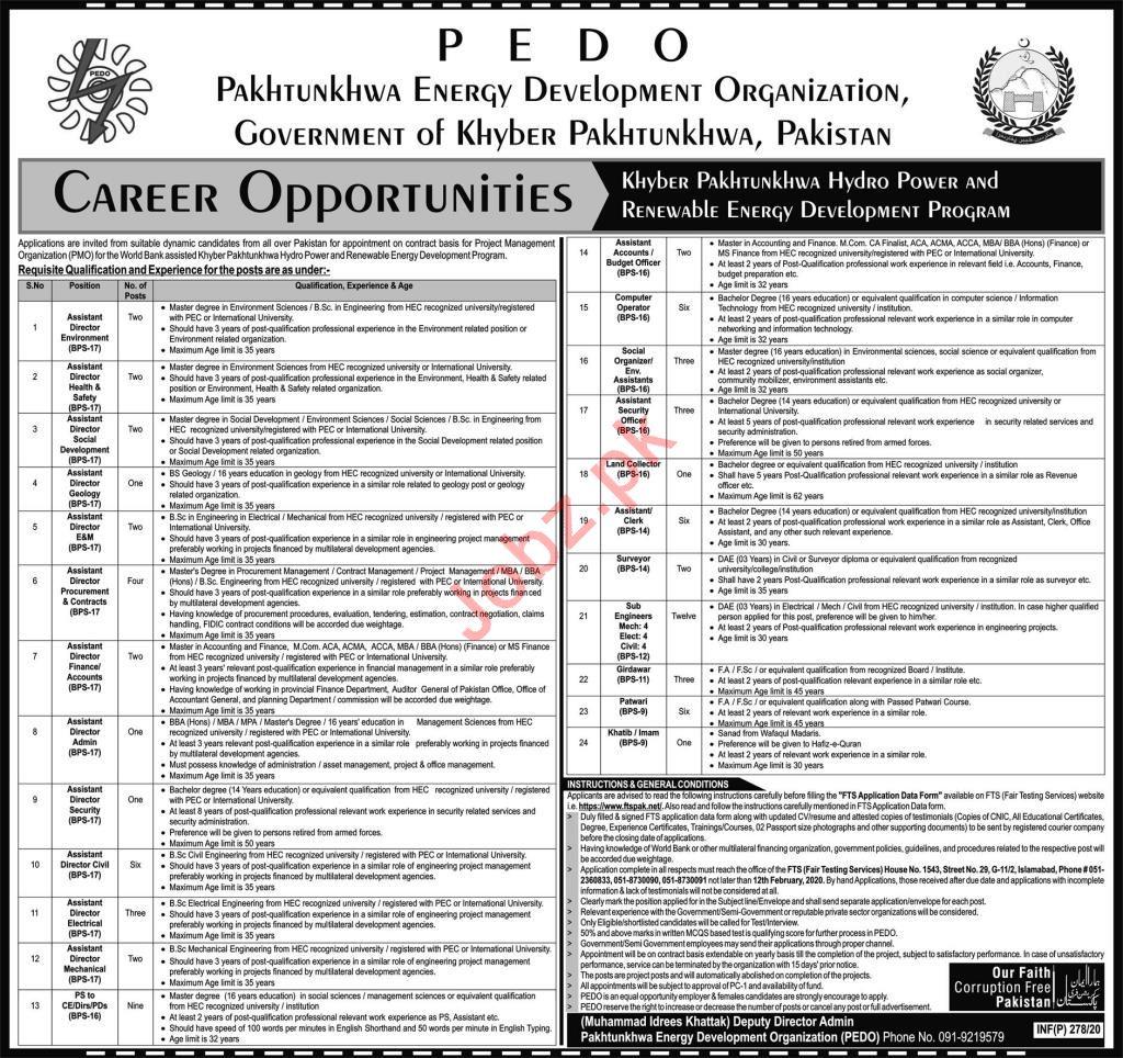 PEDO Govt of Khyber Pakhtunkhwa Jobs 2020