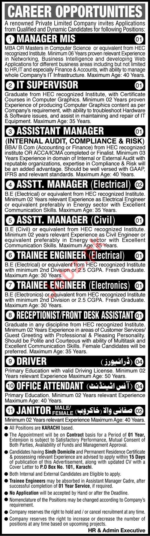 Private Limited Company Jobs 2020 For Karachi